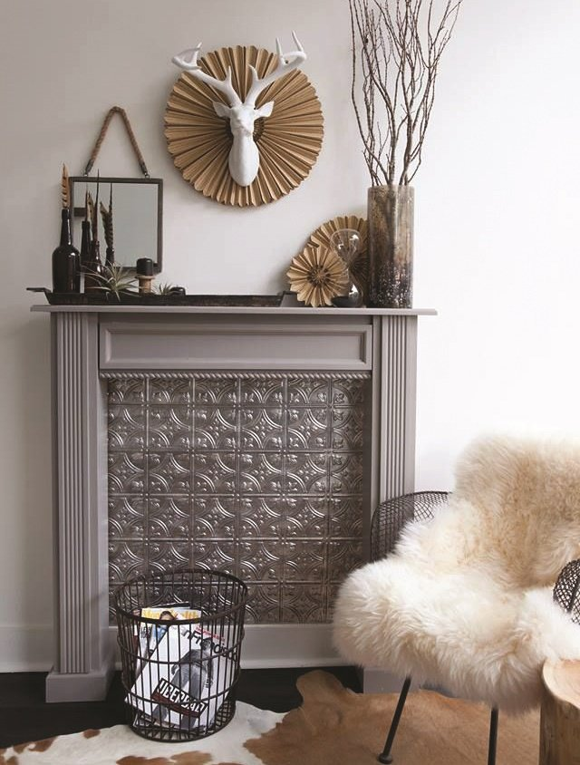 <p>A faux fireplace warms up the waiting area.</p>