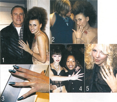 <p>[1] Orly president Jeff Pink poses with his daughter (and model for the night) Shanee Pink. [2] Shanee and another model show off their nails before the show. [3] Even the boys wore custom, pre-designed nail tips during the Year in Rocks fashion show. [4] Nail tech and Orly spokesperson Cecily Carrington (right) poses with one of the models after the show. [5} This model show us her elaborate nails while getting her hair and makeup done before the show.</p>