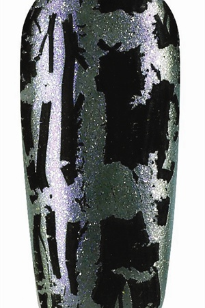 <p>Create an edgy look by layering OPI Black Shatter over OPI Not Like the Movies.</p>