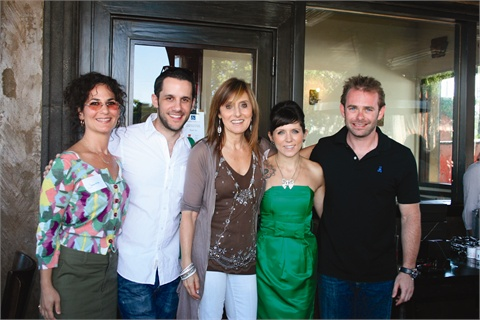 <p>Left to right are makeup artist Jen Zide, Michael Bassett, Beverly Kessler, Hairroin Salon owner and stylist Janine Jarmon, and ROB|B Salon owner Robbie Schaeffer.</p>
