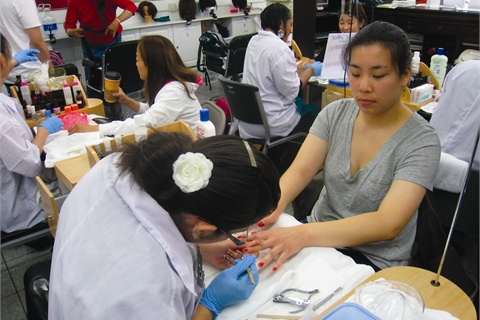 <p>Supporters of the Healthy Nail Salon Recognition ordinance gave free manicures at a July 2010 event to raise public awareness of the issue.</p>