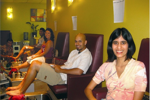 <p>After threatening my fiancé (second from front) with colored polish, nail tech Lee Tran whipped out Orly's Nails for Males matte nail finish.</p>