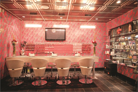 <p>Ki Nail Bar (shown) in Los Angeles is the girly Japanese sister of Chi Nail Bar in Beverly Hills. The wallpaper pattern used in both salons is identical, but at Ki its color is unabashedly pink, a distinction from Chi's earth tones.</p>
