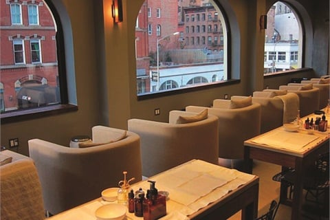 """<p><span style=""""line-height: 120%; font-family: 'Arial','sans-serif'; letter-spacing: -0.1pt; color: windowtext; font-size: 10pt;"""">Tenoverten clients are positioned to face the windows during pedicures where they enjoy a view of the city. Being above street level protects customers from the inquisitive eye of pedestrians. </span></p>"""