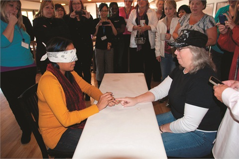 <p>Vicki Peters judged the blind polish competition.</p>