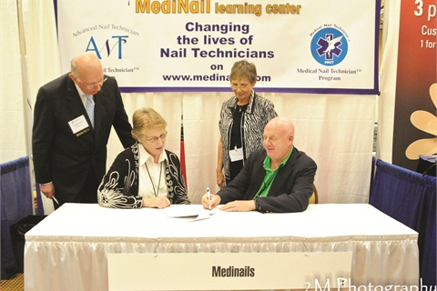 <p>Pictured (left to right) are Norman Wallis, executive director, ACFAOM, Kathleen Satterfield, DPM, president of ACFAOM, Janet McCormick, vice president of education, Medinail Learning Center, and Robert Spalding, DPM, president, Medinail Learning Center.</p>