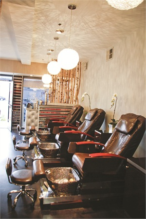 <p>The salon's pedicure stations feature decorative bowls with an electric pipe-free whirlpool jet that mounts to the side of the bowl. </p>