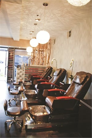 The salon's pedicure stations feature decorative bowls with an electric pipe-free whirlpool jet that mounts to the side of the bowl.