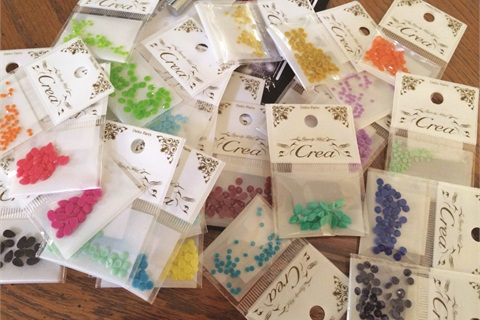 2. This brand has so many cute gems in different colors and finishes. I bought 2 and 3 mm round shapes and 3 x 6 mm diamond shapes. In Texas I wouldn't have been able to find these anywhere else.