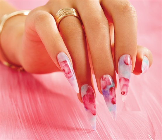 Behind The Scenes Acrylic Watercolor Floral Nails