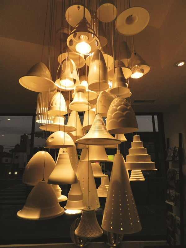 <p>The light fixture in the waiting area really came to life at night. </p>