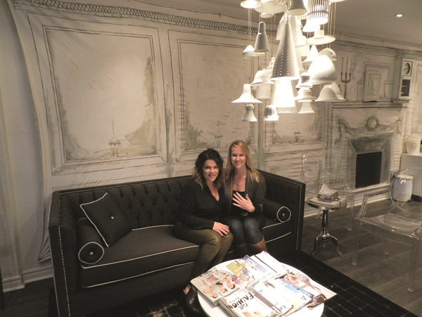 <p>Salon owner Leeanne Colley (left) gave me a fabulous fall manicure with negative space nail art using CND Shellac in Dark Dhalia.&nbsp;</p>