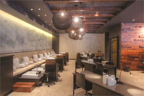 <p><em>The salon offers a good flow, allowing customer relaxation. Plus, the pedicure bench and open manicure stations encourage conversation. </em></p>