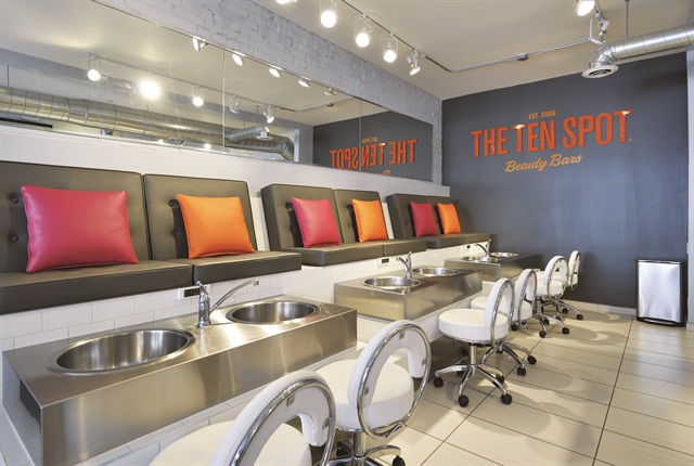 The Ten Spot's lively color palette is meant to give the salon a more fun and open vibe.