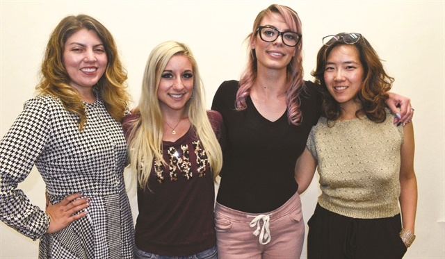 <p>NAILS executive editor Beth Livesay, model Ciara Pisa, Deanna Stelmaschuk, and art director Yuiko Sugino.</p>