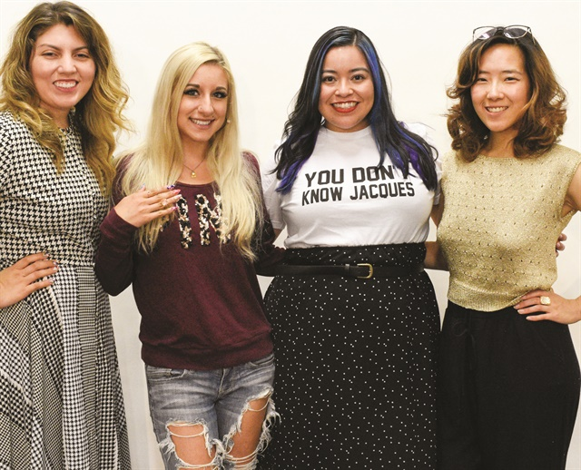 <p>NAILS executive editor Beth Livesay, cover model Ciara Pisa, cover tech Sigourney Nuñez, and art director Yuiko Sugino.</p>