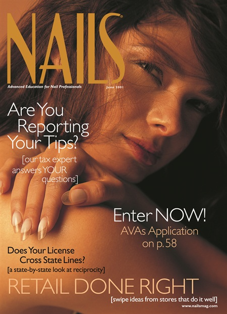 <p>Salina did the nails for the cover of NAILS June 2001.</p>