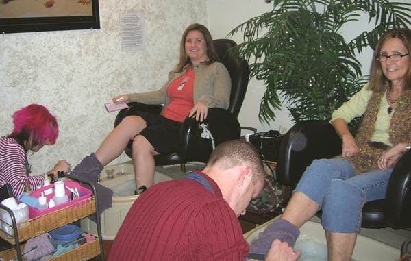 <p>When I was home for the holidays, I went to Avalon Hair & Day Spa with my mom (right) for side-by-side pedicures.</p>