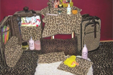 Leopard-print bags are a signature mark of Sassy's mobile nail techs. The bags provide an organized way to carry supplies, and the pattern hints of the party that's about to begin.