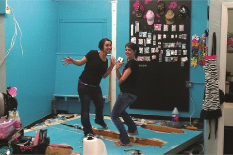 "<p class=""NoParagraphStyle"">Christina Litster  (right) and Andrea Conde knocked down a wall to expand their new salon.</p>"