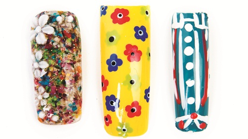 <p>Nails by (left to right): Marcia Burtlow, Curlz, Clipx, & Tipz, Nampa, Idaho; K. Abercrumbie-Gathers, Portable Polish Mobile Nailcare, Charlotte, N.C.; Elizabeth Fernandes, vlsnails, Boston</p>