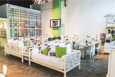 The bright colors and openness of NailBar and Beauty Lounge create a modern and cheerful ambiance