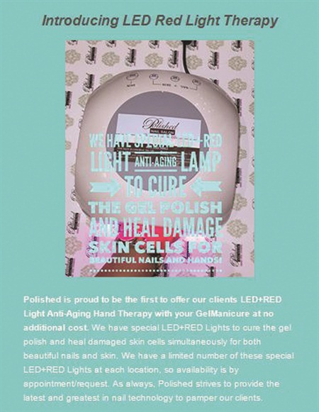 <p>Polished owner Samantha Hanby sent an introductory email to her clients explaining the benefits of red light therapy.</p>