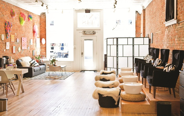 <p>It may look spacious here, but the entire 1,000-sq.-ft. salon is packed to the brim as soon as the doors open.</p>