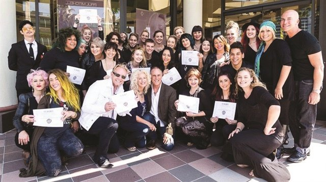 The whole team at this Robert Cromeans Salon took the Eyes On Cancer certification class.