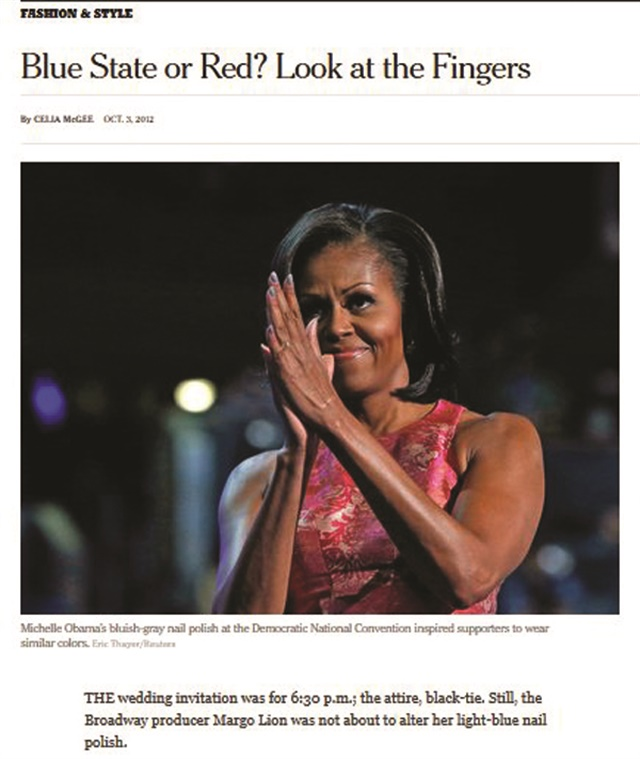 <p>Even the New York Times took note of what Michelle Obama was wearing on her nails.</p>
