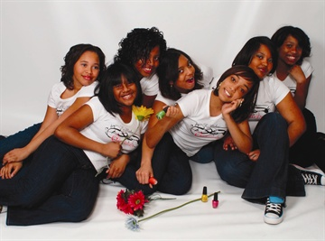 <p>Glo Girls uses junior helpers who get school credit in exchange for pitching in. Pictured left to right are Ciyani Addison, Milan Campbell, Rodnae Gould, Mahni Hellams, Jamie Myers (center), Jazmine Addison, and Tierra Robinson.</p>