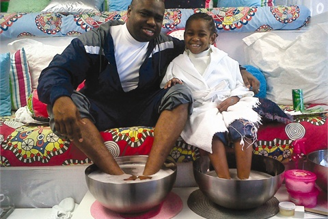 <p>Alan Edwards and his daughter Jordan enjoy a fun day of pampering with the Glo Girls Daddy and Me service.</p>
