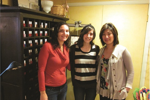 """<p class=""""NoParagraphStyle"""">My cousin Dana Edelman (left) and I (center) pose with Polished Lounge co-owner Pauline Mai.</p>"""