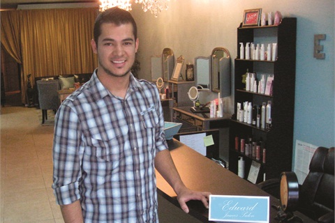 <p>Chris Mans at Edward James Salon where he rents a booth under his business name Jeweled Nails.</p>