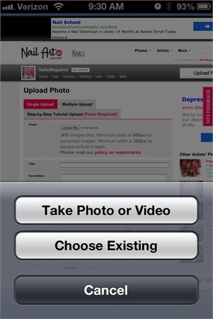 <p>3. This will prompt you to choose an existing photo from your camera roll or to take a new one.</p>