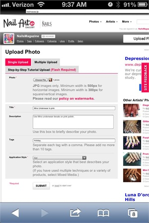 <p>4. Once you've chosen your photo you will see a small thumbnail of it on the information page. Fill out the required information (designated by pink asterisks) and submit.</p>
