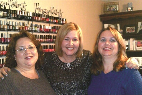 """Life changes have split us up but not kept us apart,"" says Vicki Jensen (center) of the nail techs she apprenticed under, including Francine Rantala (left) and Lisa Moore-King (right)."
