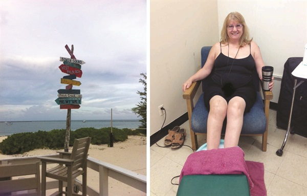 <p><strong>[left]</strong> Andros is the Bahamas' biggest island. <strong>[right]</strong> Client Lynn Puhle relaxes as she gets a pedicure on location at a navy base.</p>