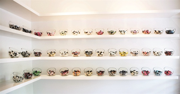 """<p>""""We let the polish serve as the color accent of our shop,"""" says Thornberry of Hoopla's polish nook, which displays bowls of the salon's 42 different colors.</p>"""