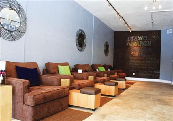 Crave Nail Spa, Tampa, Fla. This salon was created using eco-friendly design materials, including bamboo flooring, low-VOC paint, and energy-efficient lighting. Crave features toxin-free services and products such as water-soluble Piggy Paints for children, and a variety of polish brands for adults that are free of parabens, toluene, formaldehyde, and DBP. Owner Jozette Hite also creates sugar scrubs from scratch and incorporates a variety of natural, essential oils into Crave's private-label, paraben-free creams and whipped lotions.