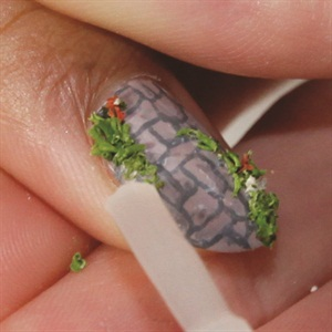Cut Tiny Pieces Of Moss Like Greenery And Apply Them Randomly On The Nail  (they Will Stick To The Top Coat).