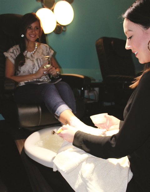 Ginger Bay promotes its Earth Month Pedicure on its website, in social media, and through a digital presentation on flat screen TVs in both its locations.