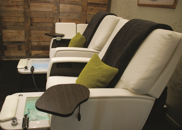 Comfy chairs allow clients to relax and have a peaceful pedicure.