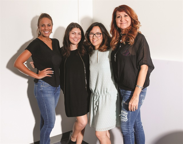 Model Ariel Paredes, NAILS Executive Editor Beth Livesay, Art Director Yuiko Sugino, and cover tech Lisa Boone.