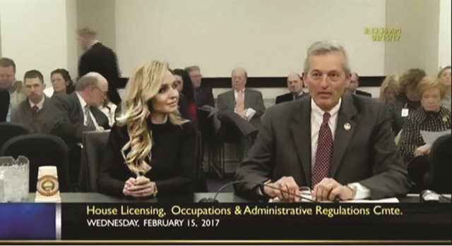 <p>Jill Higginbotham and Representative Jerry Miller of Kentucky testifying before the Licensing Committee on February 15, 2017.</p>