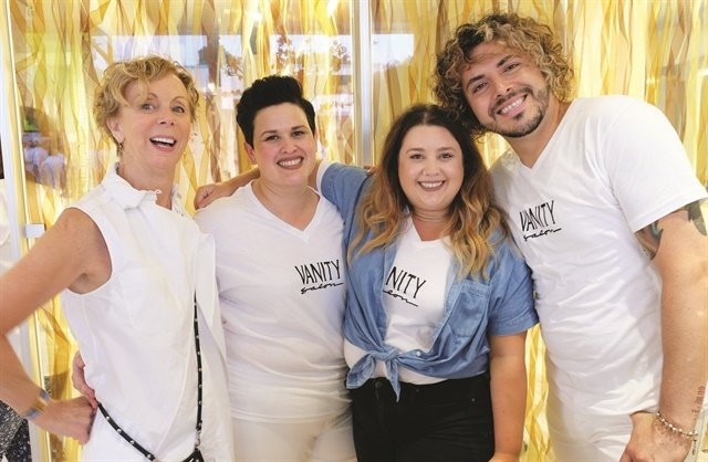 Pictured (from left to right) are Vanity Salon founder Glennis Tolunay, general manager Suyen Ramos, educator and master stylist Lesley Jarboe, and creative director Alex Zuniga.