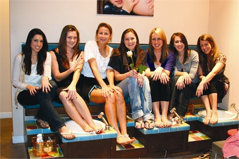 <p><em>As the party winds down, bridesmaids (from left to right) Kailey  Latteri, Kinsey Cronin, Kate Silvey, Anne Silvey (bride), Julie  Phillips, Anna Jones, and Catherine Herzog show off their freshly  polished hands and feet.</em></p>