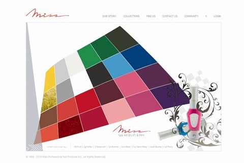 <p>Miss illustrates the range of shades available for its Nail Art Brush & Pen line by coloring each tile with the appropriate lacquer shade.</p>