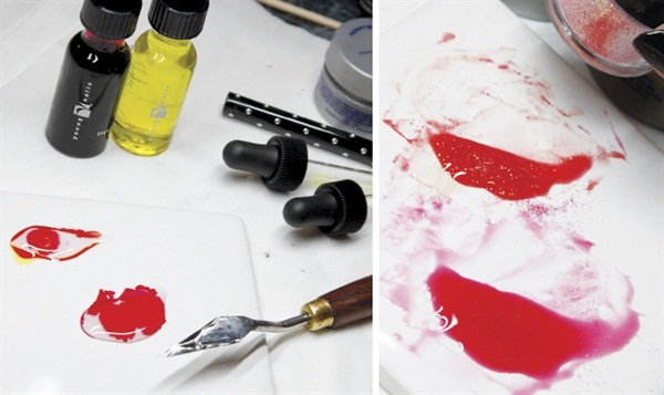 MIXING CUSTOM GELSTake a gel spatula or painter's knife full of Build Synergy Gel and place it on a ceramic tile. Use one drop of Red Liquid Art in one of the Build Synergy Gel scoops. Mix very well with a spatula to create a stained glass look. For the next color, use a drop each of Red and Yellow Liquid Art. Sprinkle in some Lava Glitter from the Los Angeles glitter collection. Mix well. This creates an orange color that looks like fire!