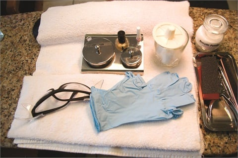 "<p class=""NoParagraphStyle""> Gloves and safety glasses are recommended salon safety precautions. Chemicals should be labeled and stored in closed containers.</p>"